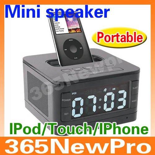 Dropshipping  Premium Portable loudspeaker,mini speakers alarm speaker for apple ipod/touch/iphone 3g/3gs/4/4s,FM+charging dock