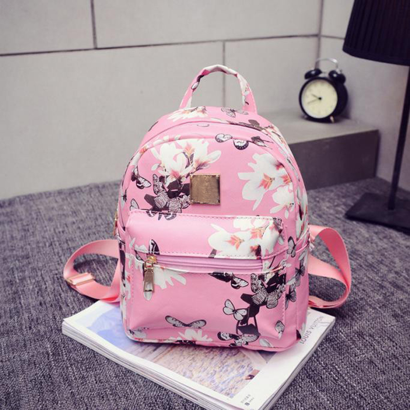 women casual shopping bags new fashion ladies travel Backpack Fashion Causal Floral Printing Leather Bag New Women's Backpacks