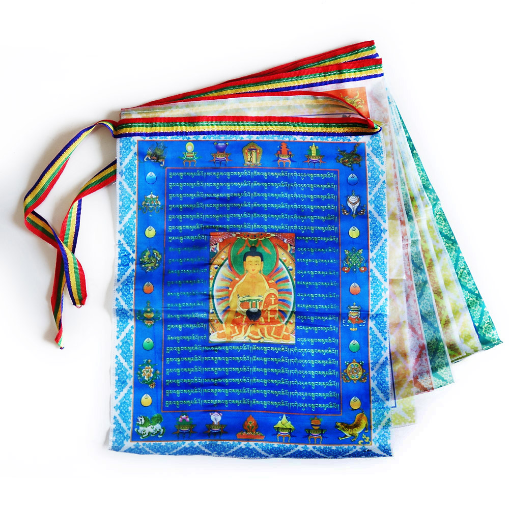 Tibetan Buddhist prayer flags,Sutra streamer,contain 10 flags,Tibet style decorative flag,Total length 3meters, clear pattern