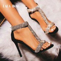 LALA IKAI Sexy Rhinestone Sandals Women High Heels Crystal Zipper Summer Party Wedding Shoes Thin Heels Sandalie 014C3309 4