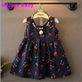 Malayu Baby 2016 Baby Girl Dress Summer Kids Teenagers Sleeveless Cherry Print Pattern Cotton Dresses Clothes For Girls Children
