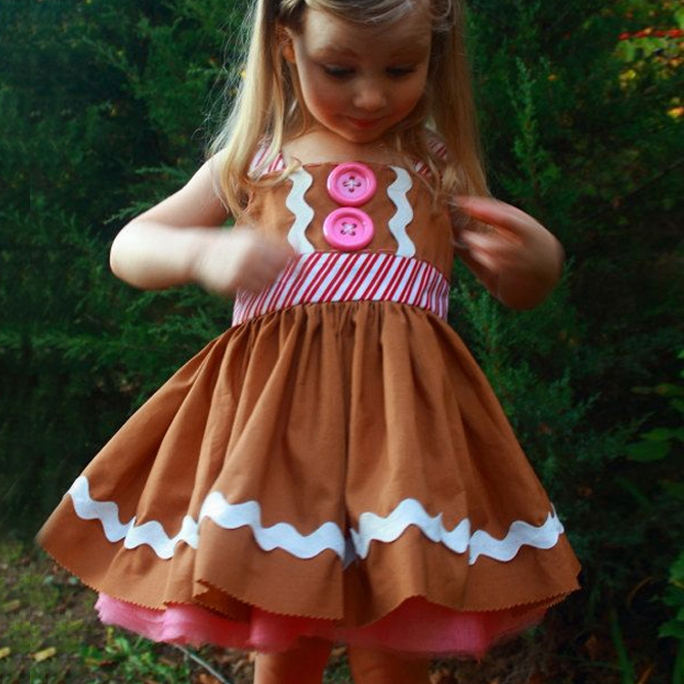2018 New Kids Girl Gingerbread dress Summer Children Knee-length Christmas holiday Strap Casual Button Decoration Pleated Dress retro sweetheart neck pure color button pleated skater dress