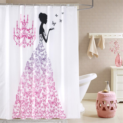 Polyester Fabric Shower Curtain Waterproof Home Bathroom Curtains Pink Butterfly Princess Bath Crutain For The