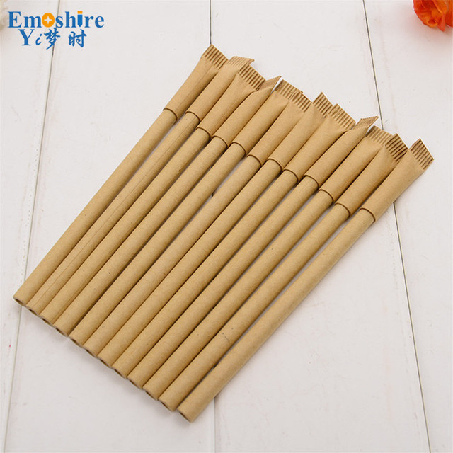 Wood Color Kraft Paper Ballpoint Pens Toothpaste Shape Roller Ball Pen Customized Print LOGO Blue and Black Refill P152