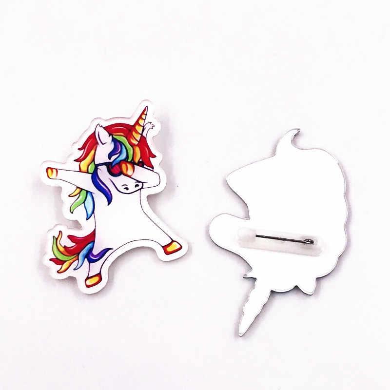 Vendita calda 1PCS Unicorno Cartone Animato Icone Zaino Sacchetto Spille Spilli Per Abbigliamento Acrilico Distintivi e Simboli di modo delle ragazze delle donne di Nuovo arrivo