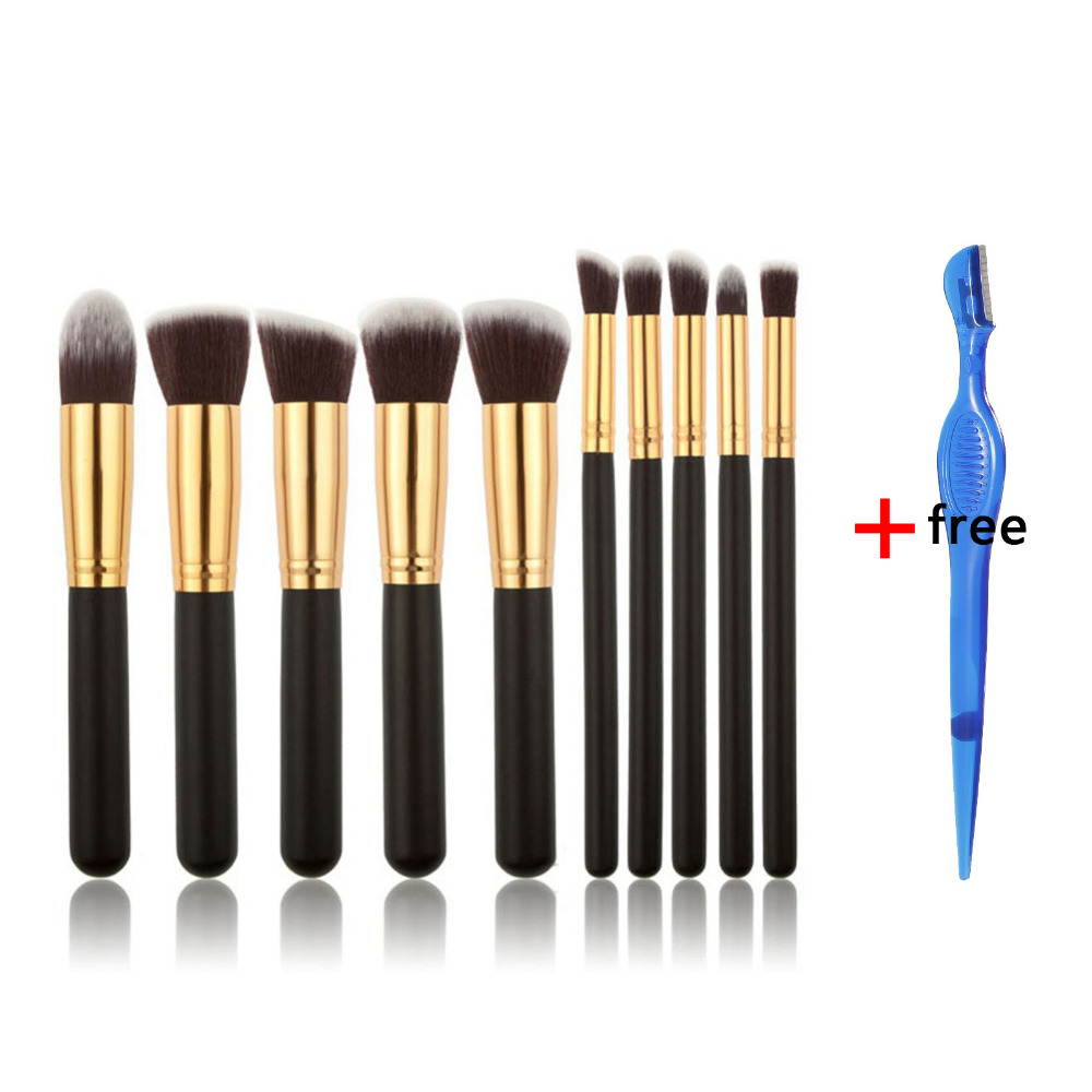 6 Colors Professional 10PCS Makeup Brushes Set Cosmetic Foundation Kabuki Brush Liquid Beauty MakeUp Brushes Tools Kit + Gift 24 pcs professional makeup brushes beauty woman s kabuki cosmetic makeup brush set tools foundation brush pincel de maquiagem