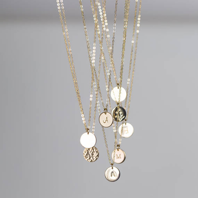 925 Silver Name Necklace Handmade Rose Gold Coins Choker 7mm Pendant Collier Femme Kolye Collares Jewelry Boho Women Necklace