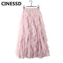 CINESSD Mesh Patchwork Long Skirt Women High Waist A Line Swing Irregular Pink Office Lady Autumn Casual Maxi Skirts