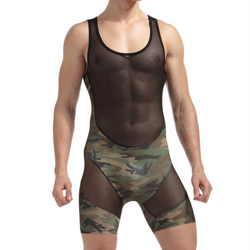 Nieuwe Mannen Hemd Gay Ondergoed Shapers Camouflage Mesh Sexy Tank Tops Mannen Bodysuit Ondershirt Jumpsuit Shorts Maat Xxl