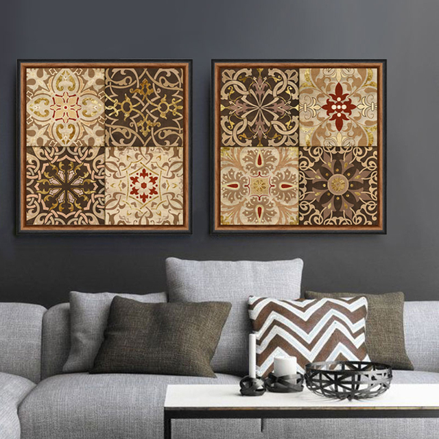 Middle East nation retro decorative pattern canvas wall art home decor modern painting picture Cafe Bar & Middle East nation retro decorative pattern canvas wall art home ...