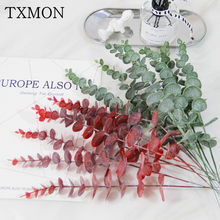 Simulation green plant single eucalyptus leaf imitation dry branch artificial fake flower wedding shooting prop home decoration(China)