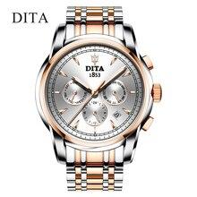 Movimento automático grande presente relógio automático relógio de pulso ouro aço inoxidável volta resistente à água relógio multifunções