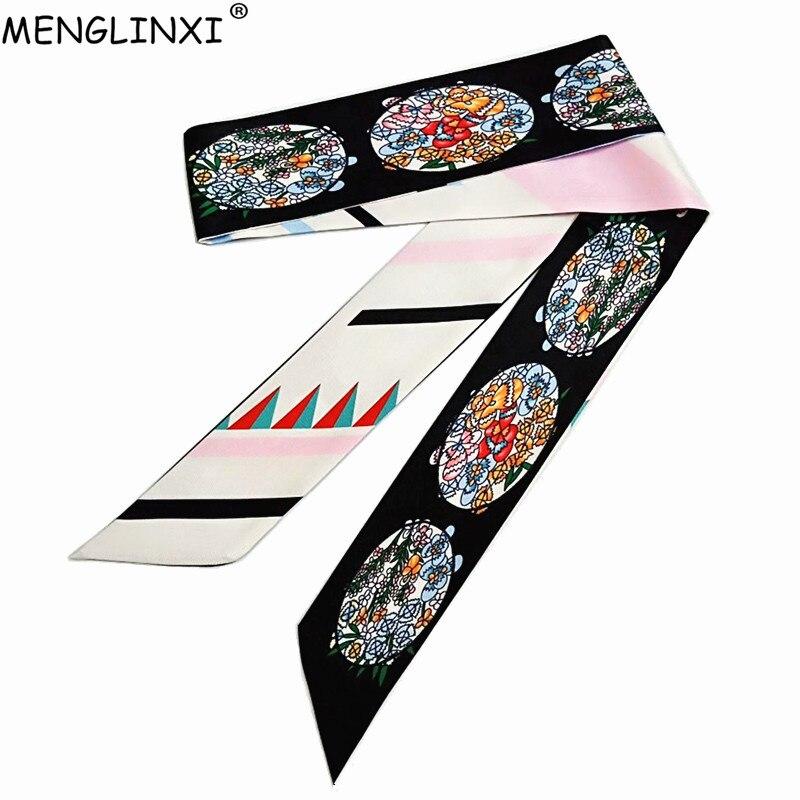 2019 Floral Print Skinny Scarf For Women Silk Scarf Brand Handbag Long Scarves Wraps Fashion Belt Head Scarf Foulard For Ladies