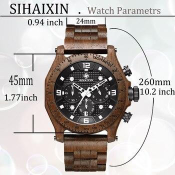 SIHAIXIN New Men's Walnut Wooden Waterproof Sport Watch