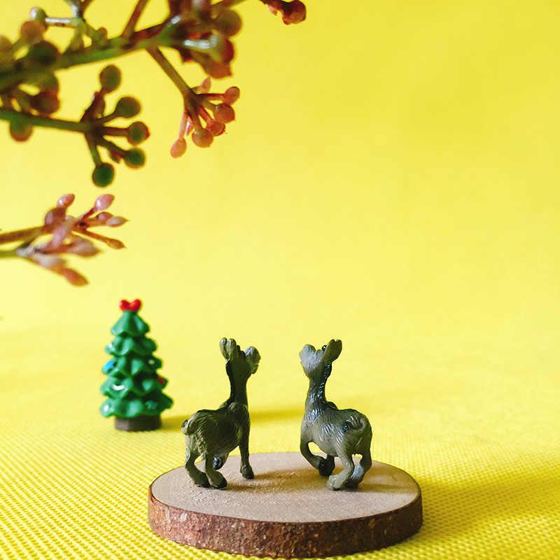 2 Pcs donkey/fantasy miniatures/cute/ fairy garden/gnome/moss terrarium decor/crafts/bonsai/DIY supplies/figurine/toy/model/gift