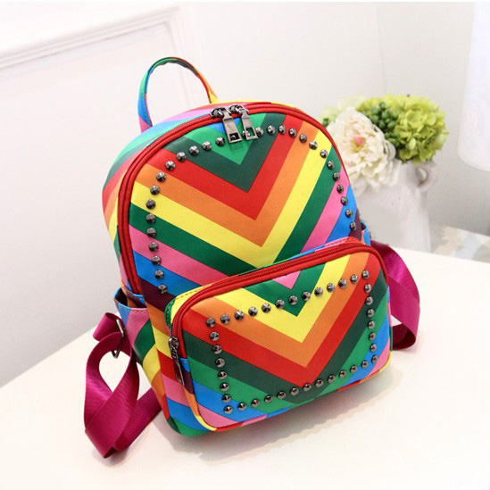 Aliexpress.com : Buy women backpack fashion school Rivet bag for ...