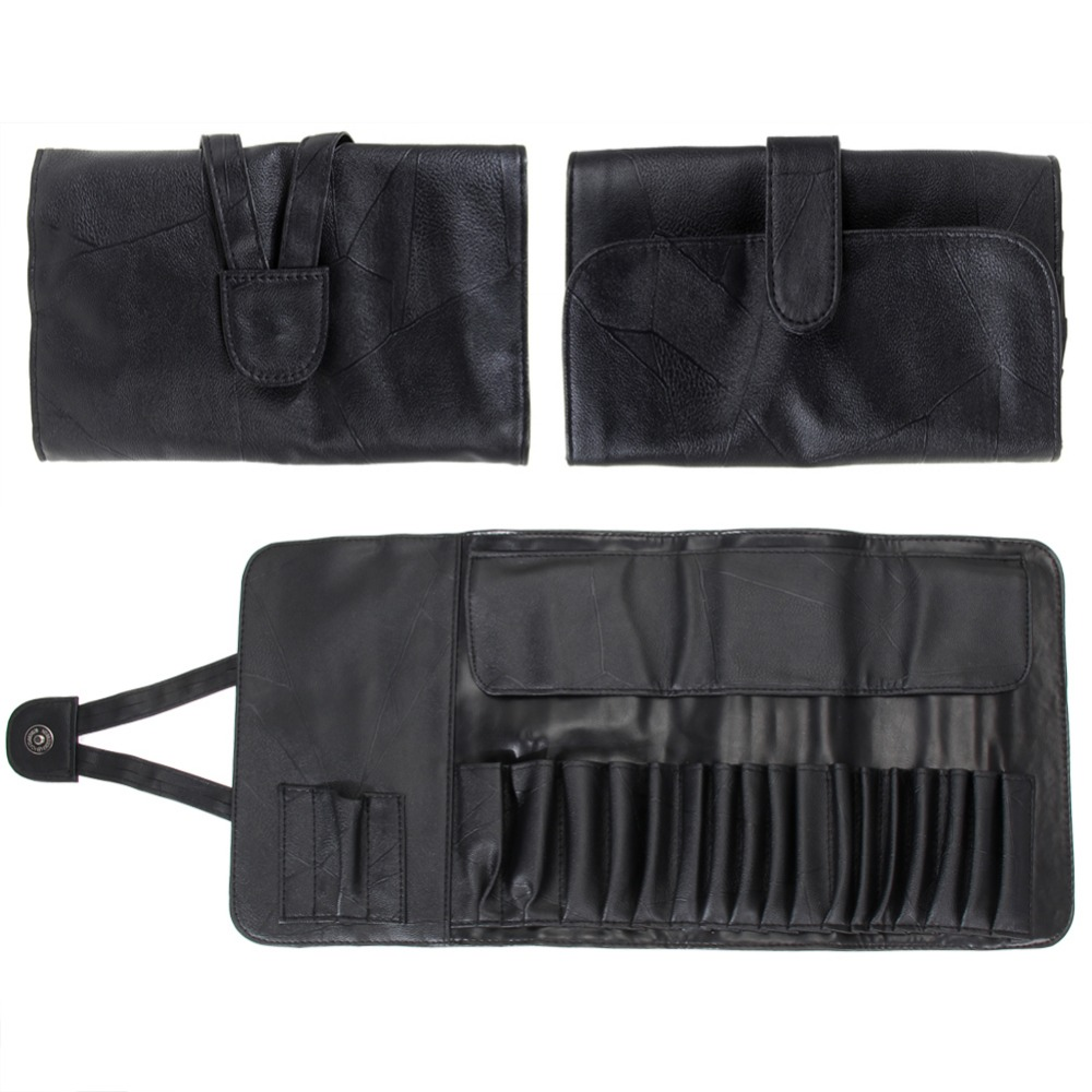 12/18/24 Slots Cosmetic Makeup Brushes Case Holder Roll Bag High Quality Black Faux Leather Pouch For Standard Length Brush