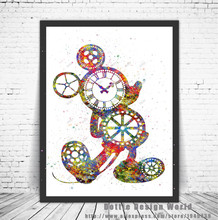 Original Watercolor Steampunk Gear Mickey Mouse poster print Pictures canvas painting Modern wall art Kids Room Decoration gifts
