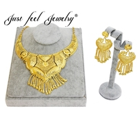 JUST FEEL 2018 Gold Color Necklace/Earrings Jewelry Sets Exquisite Bib Collares For Women Habesha/Middle East/India Wedding Gift