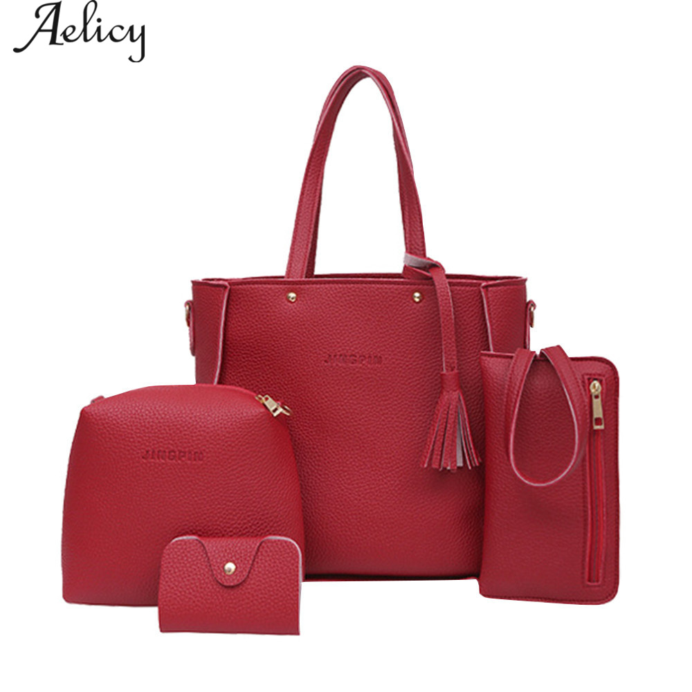 Aelicy 4 Pcs Women Bag Set Soft Leather Handbag Female Shoulder Bags Tote Bag Crossbody High Quality Woman Handbags D40 kuluosidi 3 pcs set women tote bag high