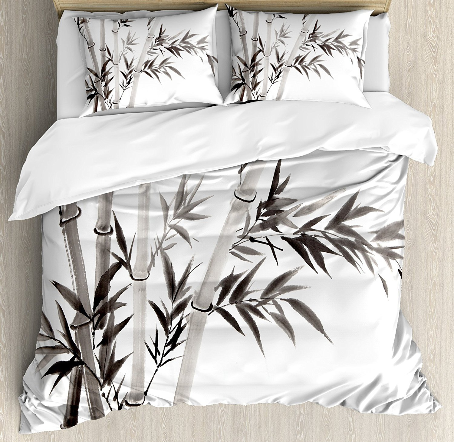 bamboo house decor duvet cover set traditional bamboo leaves meaning wisdom growth renewal. Black Bedroom Furniture Sets. Home Design Ideas