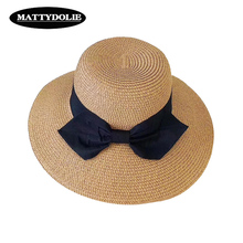 MATTYDOLIE Straw hat summer foldable sunshade wide side bow fisherman cover face beach women sun