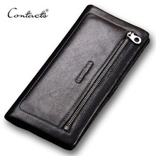 CONTACT'S Fashion Genuine Leather Men Wallet Famous Brand Wallets Man Money Clip Day Clutches Purse Black Men's Purses Zipper