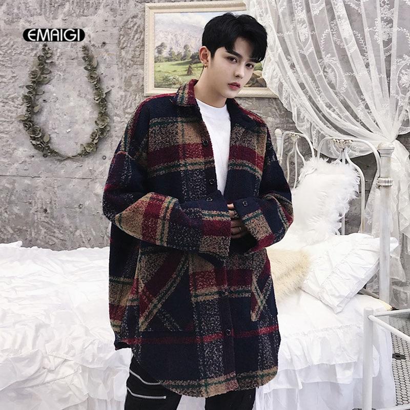 Men Wool Shirt Coat High Streetwear Fashion Hip Hop Casual Loose Plaid Shirt Jacket Outerwear Male