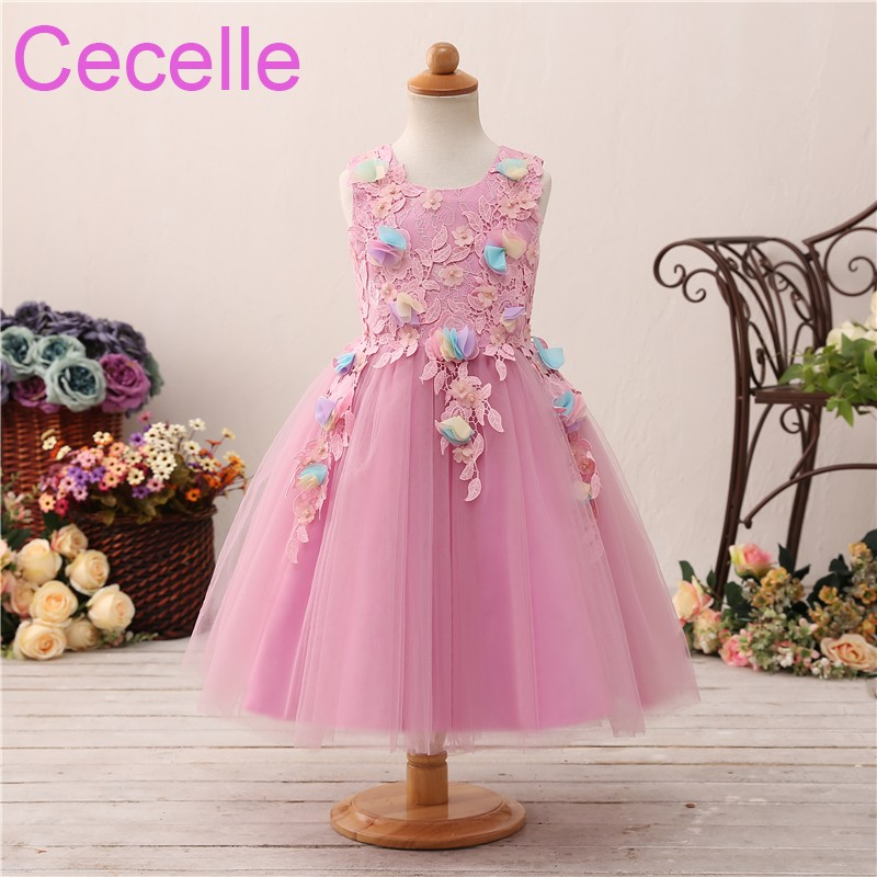 2019 Pink A-line Short Cute   Flower     Girls     Dress   For Wedding Sleeveless Lace Tulle   Flowers   Little   Girls   Formal Party   Dress