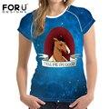 FORUDESIGNS Summer tops tees ladies short t shirt 3D  BoJack Horseman printed women t-shirt slim female punk tshirt crop top