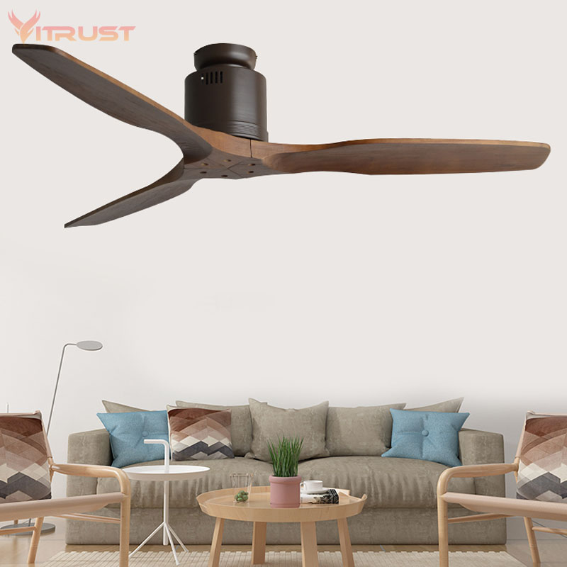 52 Inch Nordic Ceiling Fan With Remote Control And 3 Wooden Blades Ceiling Fan Creative Vintage Ceiling Fan For Dining Room Bedr