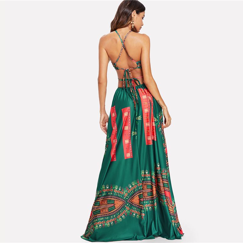 COLROVIE Green Elegant Backless Geometric Ornate Print Cut Out Halter Summer Women Maxi Dress 2018 Sexy High Waist Beach Dress 6