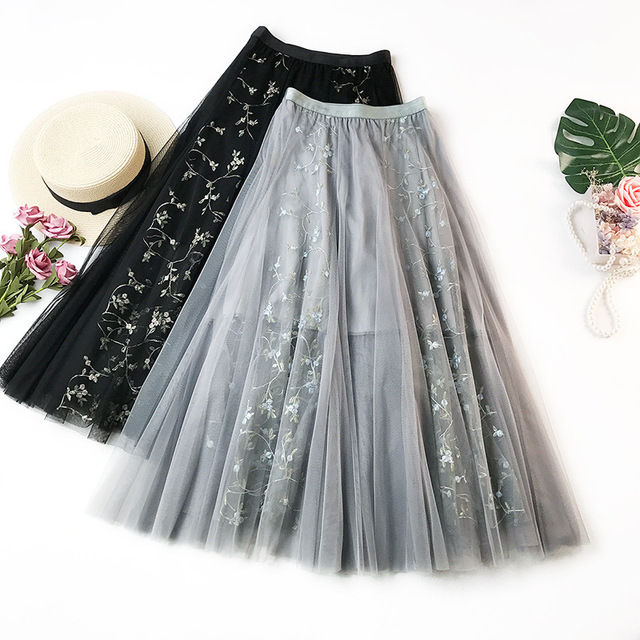 dfd145068ac Wasteheart Blue Pink Women Skirts Women High Waist Pleated Embroidery Ankle  Length Skirt All-match Chiffon Clothing Plus Size