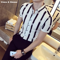 Summer New Arrival Business Casual Striped Quality Short Sleeve Shirt Korean Style Fashion Boutique Hairstylist Men