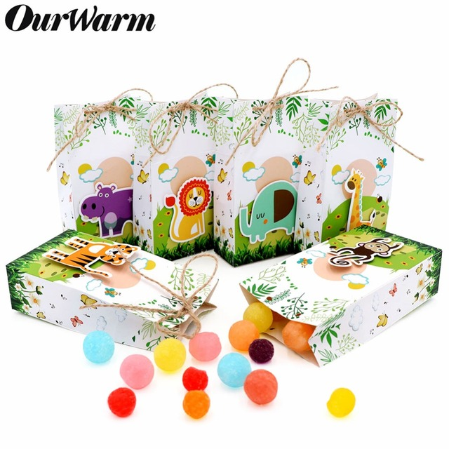 OurWarm 12Pcs Animals Party Paper Candy Gift Box Burlap Dessert Bag Gifts For Guests Kids Jungle Party Favor Birthday Decoration