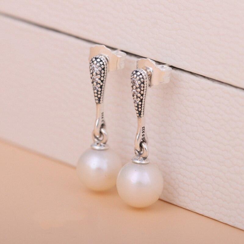 New 925 Sterling Silver Earring Elegant Beauty Pearl Hanging Studs Earring for women Wedding Gift fit Pandora Jewelry