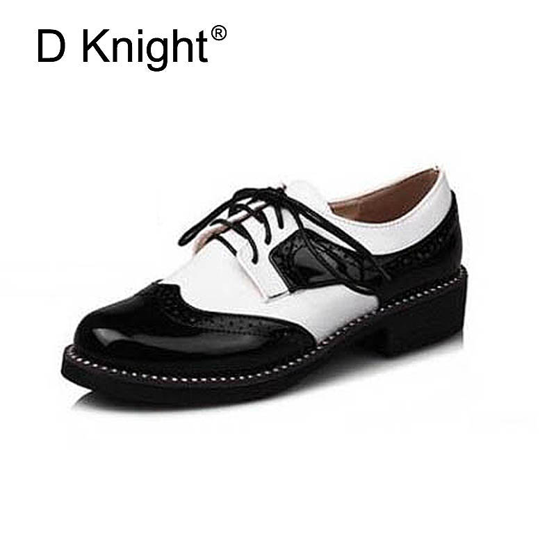 Fashion England Style Color Block Oxfords For Women New Ladies Casual Lace Up Brogue Oxford Shoes Women Flat Shoes Size 34-43 new 2018 fashion vintage neutra women flat lace up brogue oxford shoes for ladies casual flat shoes size 34 43