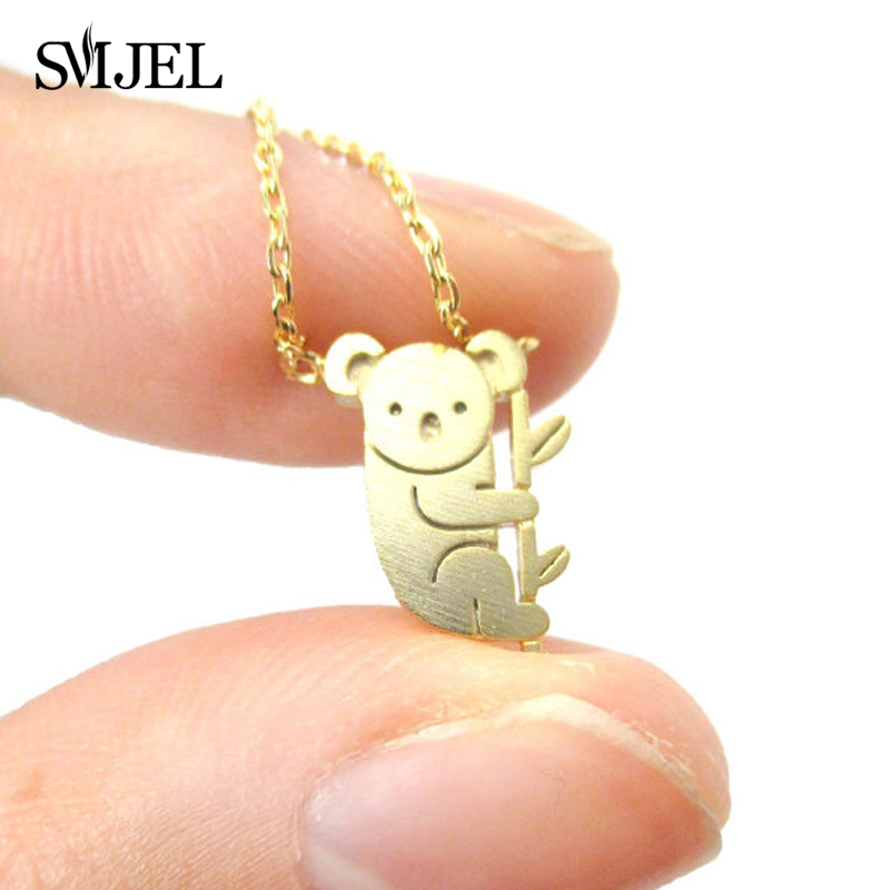 SMJEL Cute Teddy <font><b>Koala</b></font> <font><b>Bear</b></font> Necklace Aussie Woodland <font><b>Koala</b></font> on Tree Branch Necklace Australian Panda Costume <font><b>Jewelry</b></font> Gifts N136 image