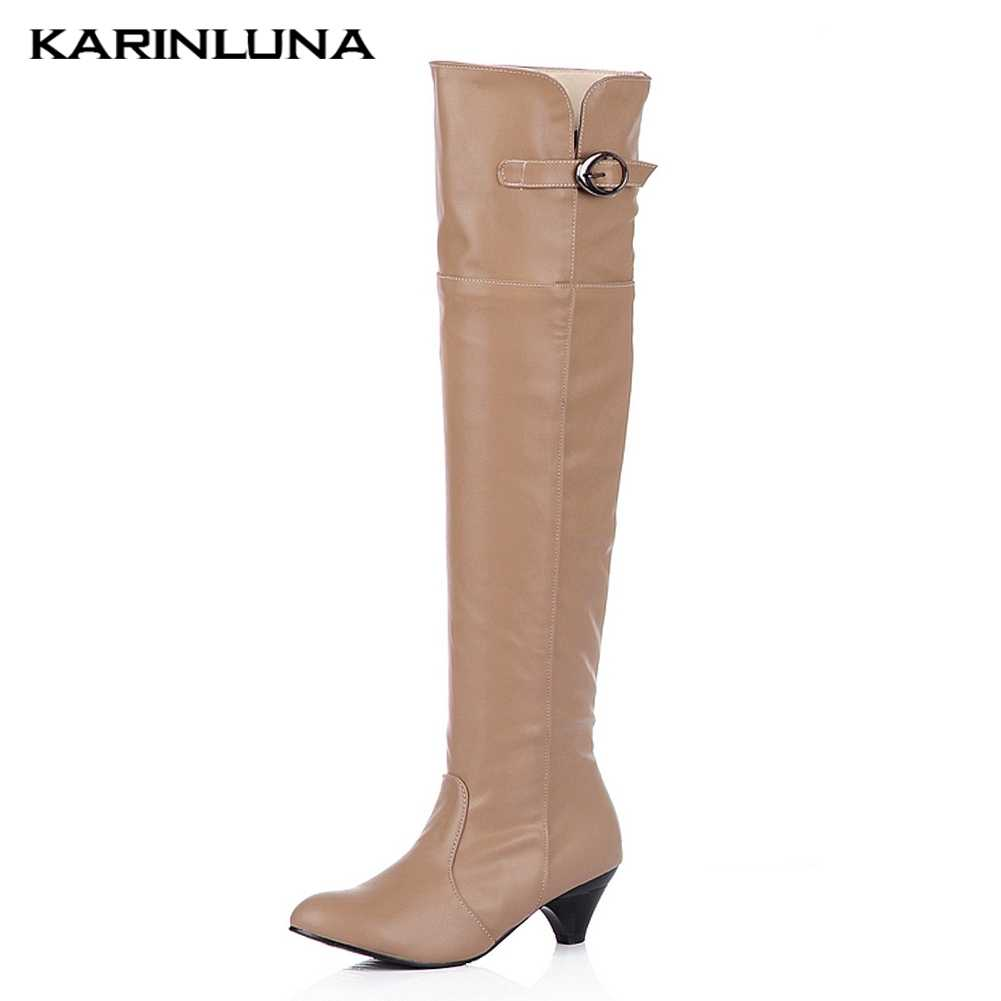 Karinluna New Sale Large Size 43 Quality Comfortable Heels Retro Over The Knee Boots Women Shoes Winter Shoes Woman Boots
