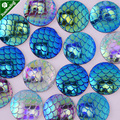 Lots of 50pcs 14mm Mermaid Cabochons Mermaids Cabochon Fish Scale Dragon Snake Skin Cabochons