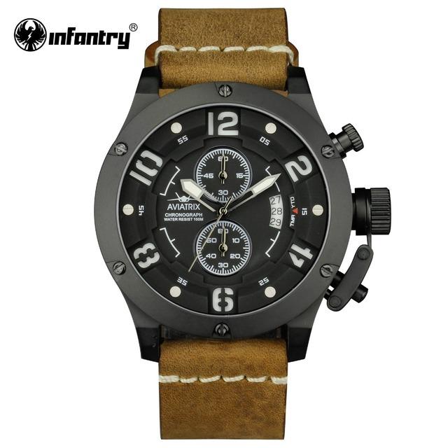 INFANTERÍA Aviadora Mens Militar Del Ejército Relojes de Lujo Reloj de la Marca 100 M Resistente Al Agua Luminosa Cronógrafo Relogio masculino