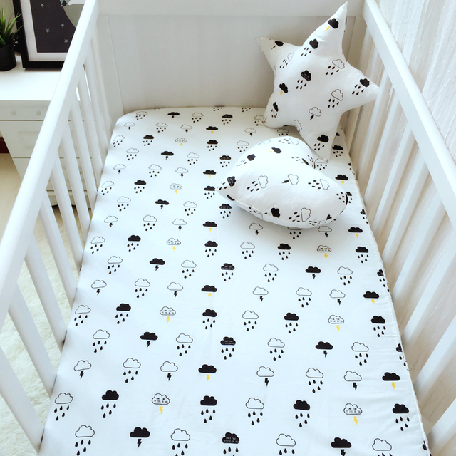 black white Clouds raindrops Mattress cover pink color cotton baby bed fitted sheet for baby girls boys crib bed sheet