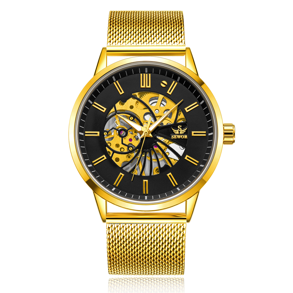 Mechanical Watches Honey Sewor Classic Golden Skeleton Mechanical Watch Men Stainless Steel Strap Top Brand Luxury Man Watch Vip Drop Shipping Wholesale Cheap Sales