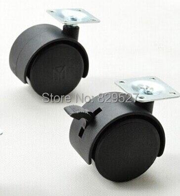 20Pcs/Lot  40mm (1.5) Twin Swivel Wheel Caster locking plate universal Caster With  Brake 2pcs 2 inch omni directional flat black swivel nylon furniture caster wheel zinc alloy plate with brake