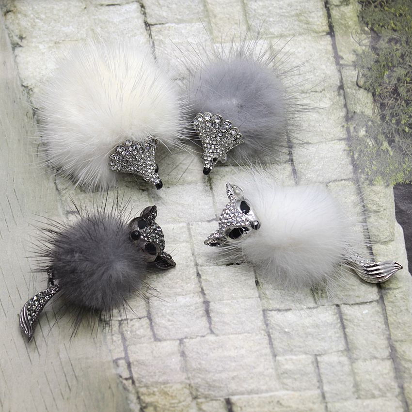 Hot Sale 2 colors Fox or Hedgehog Brooches Womens Fashion Cute Animal Pin Brooch Jewelry for Winter