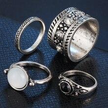 2016HOT 4pcs/Set Vintage Punk Ring Set Hollow Antique Silver Color Lucky Midi Rings for Women Boho Jewelry Knuckle bague vintage