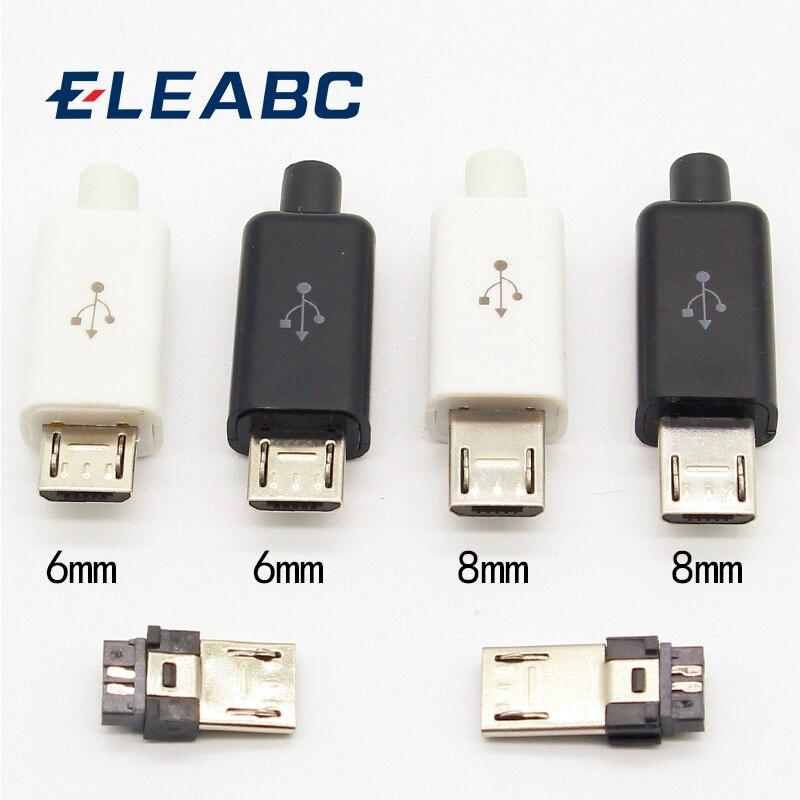 10 pces micro usb 5pin tipo de solda macho plug conectores carregador 5p usb cauda tomada de carregamento 4 em 1 branco preto