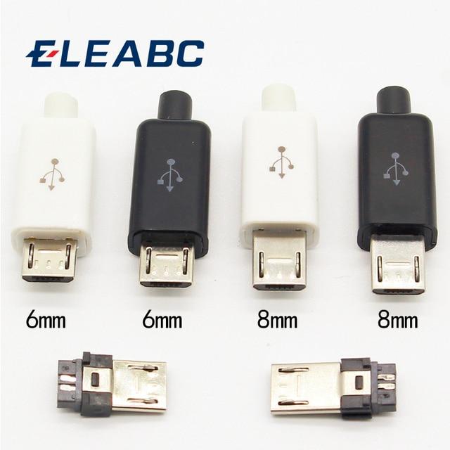 10 sztuk Micro USB 5PIN typ spawania męskie złącza wtykowe ładowarka 5P USB gniazdo ładowania 4 w 1 biały czarny