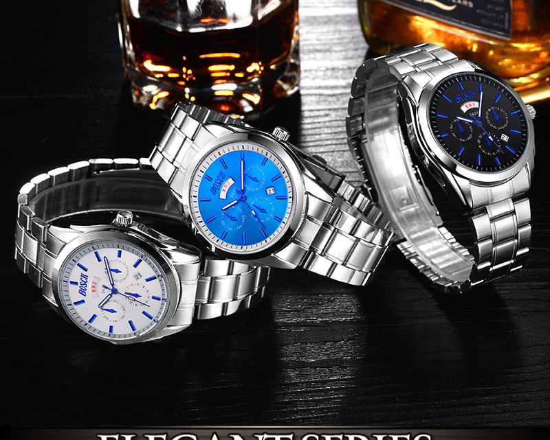 BOSCK Famous Brand Watch Top Luxury Men Stainless Steel Wristwatch Mens Military Quartz Watches Male Clock Army montre homme megir mens watches top brand luxury fashion business clock man famous watches stainless steel male quartz watch montre homme new
