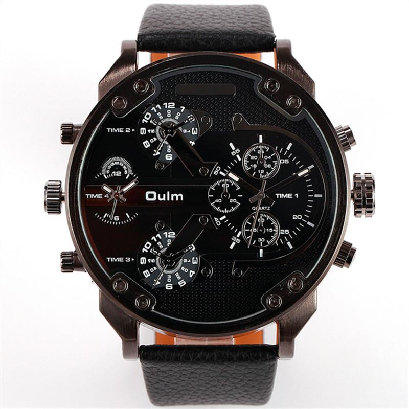 Prix pour Mode de luxe mens armée militaire dual time quartz grand cadran montre-bracelet oulm montres hommes en cuir vente chaude relogio masculino